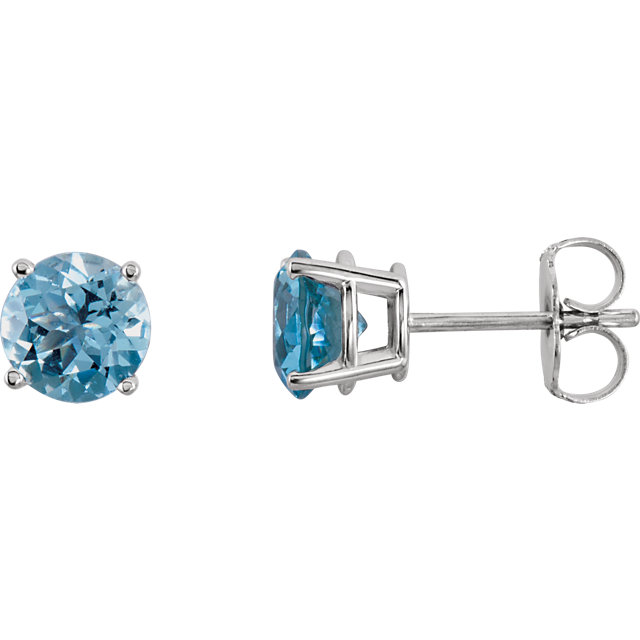 14KT White Gold 6mm Round Aquamarine Earrings