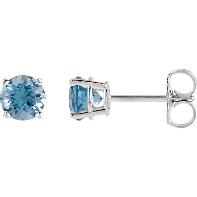 14KT White Gold 5mm Round Aquamarine Earrings