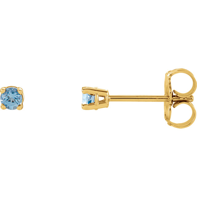 14KT Yellow Gold 2.5mm Round Aquamarine Earrings