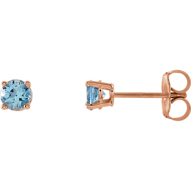 14KT Rose Gold 4mm Round Aquamarine Earrings