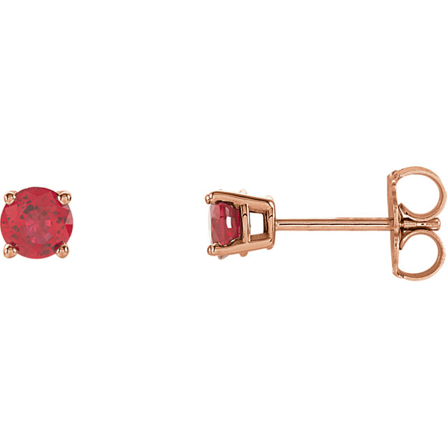 14KT Rose Gold 4mm Round Ruby Earrings