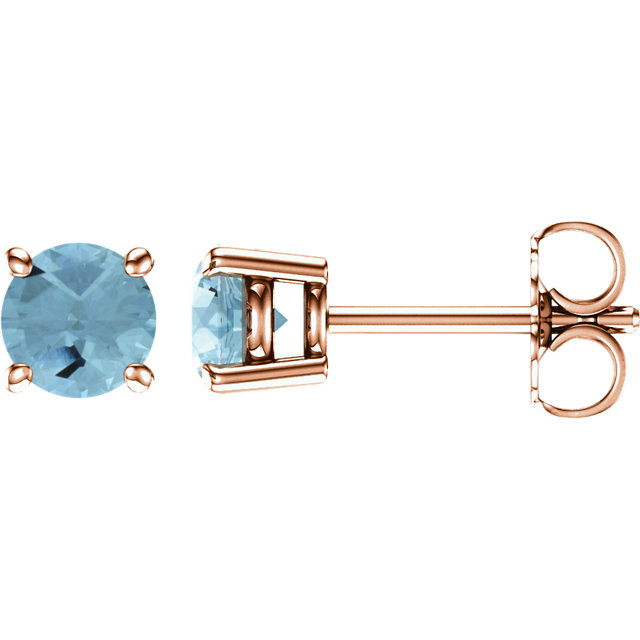 14KT Rose Gold 5mm Round Aquamarine Earrings