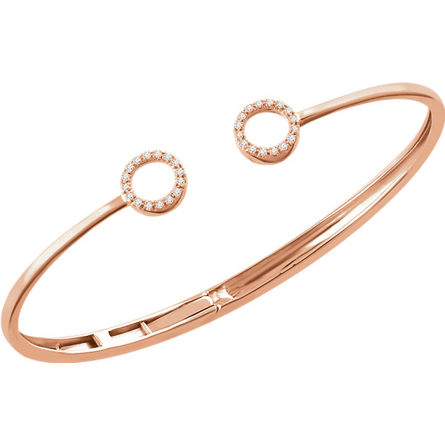 14 KT Rose Gold 1/6 Carat Total Weight Diamond Circle Hinged Bangle 7