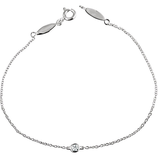 14 KT White Gold .08 CT Diamond Bracelet
