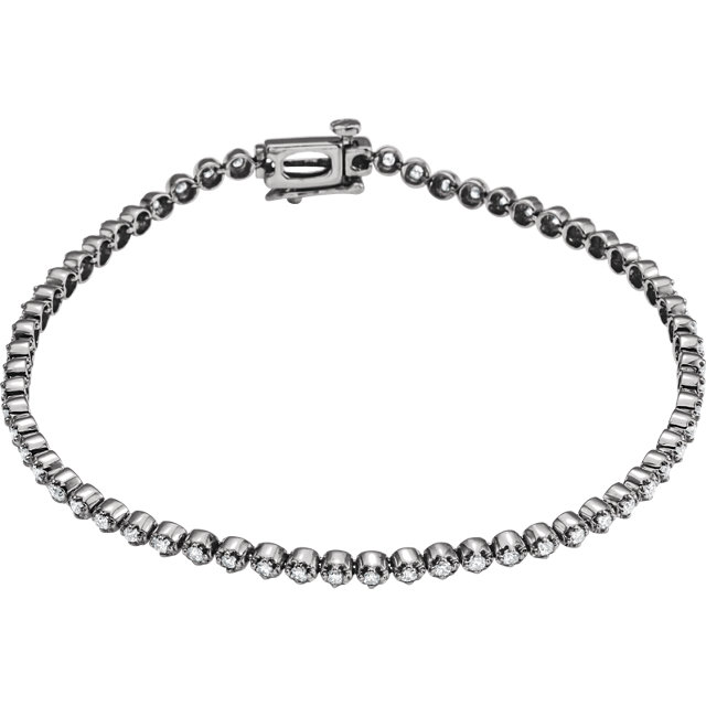 14 KT White Gold 1 Carat Total Weight Diamond Line Bracelet