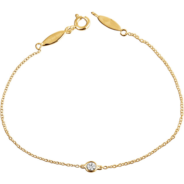 14 KT Yellow Gold .08 CT Diamond Bracelet