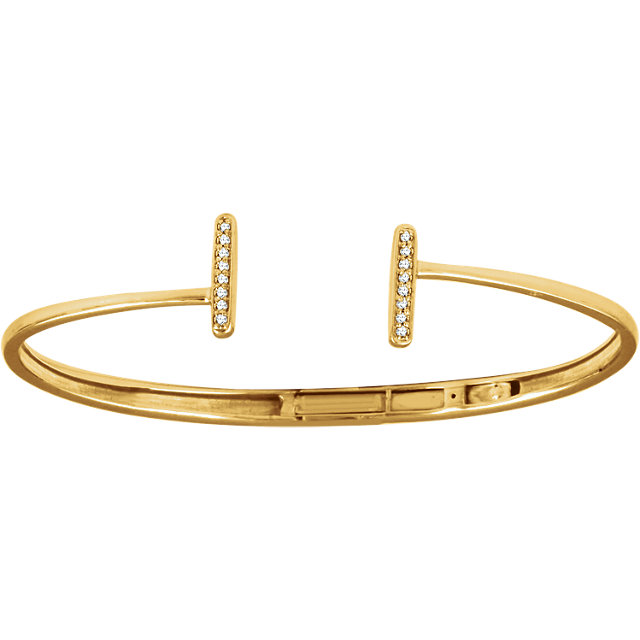 14 KT Yellow Gold 1/ Carat Total Weight Diamond Vertical Bar Cuff Bracelet