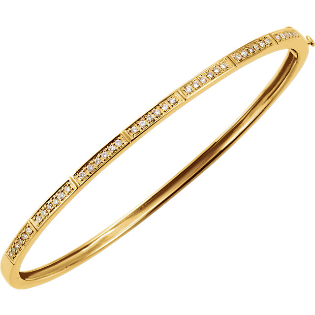 14 KT Yellow Gold 1/3 Carat Total Weight Diamond Bangle Bracelet