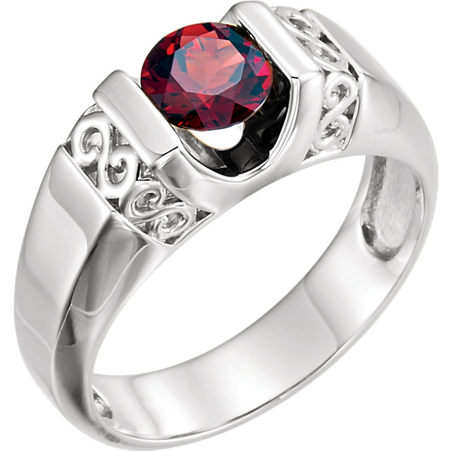 14K White Men's Mozambique Garnet Ring
