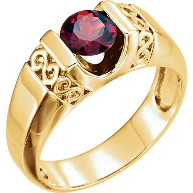 14K Yellow Men's Mozambique Garnet Ring