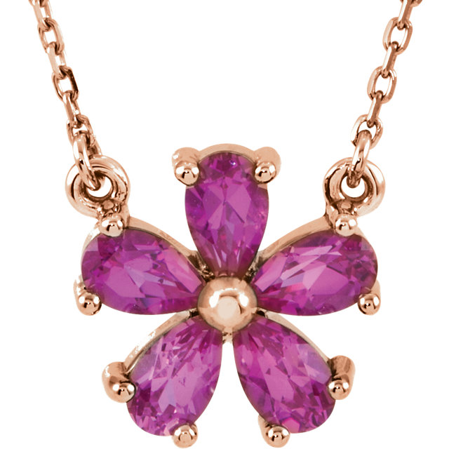 14KT Rose Gold Chatham Created Pink Sapphire 16