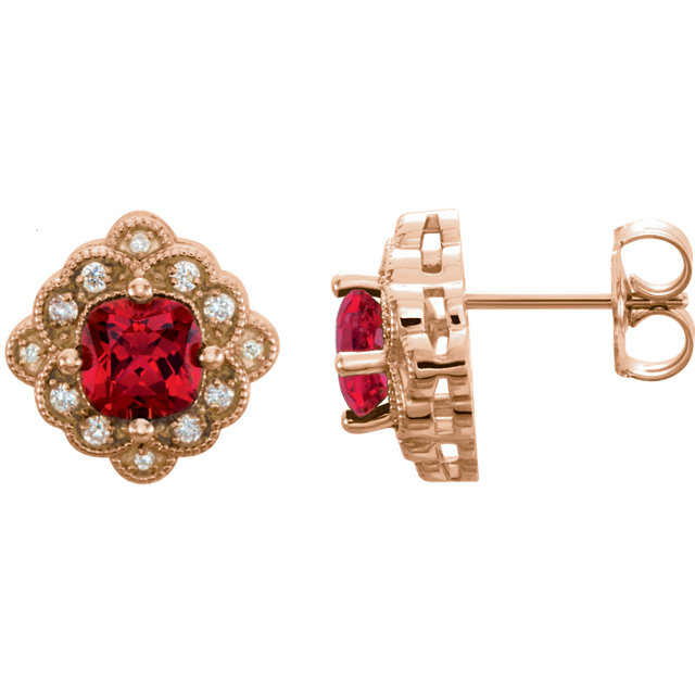 14KT Rose Gold Chatham Created Ruby & 1/10 Carat Total Weight Diamond Earrings