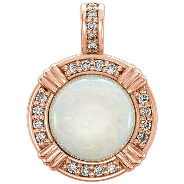 14KT Rose Gold Opal & 1/10 Carat Total Weight Diamond Pendant