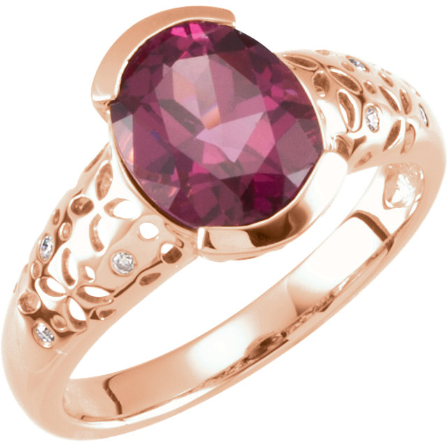 14KT Rose Gold Rhodolite Garnet & .03 Carat Total Weight Diamond Ring