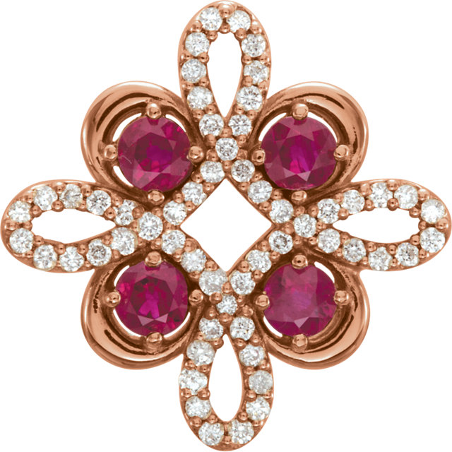 14KT Rose Gold Ruby & 1/6 Carat Total Weight Diamond Clover Pendant