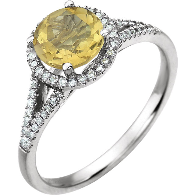 14KT White Gold 1/5 Carat Total Weight Diamond & Citrine Birthstone Ring