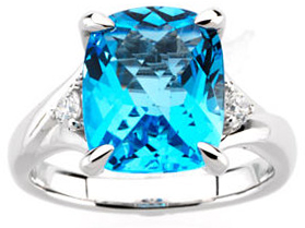 14KT White Gold 1/6 Carat Total Weight Diamond & 12X10 Checkerboard Swiss Blue Topaz Ring