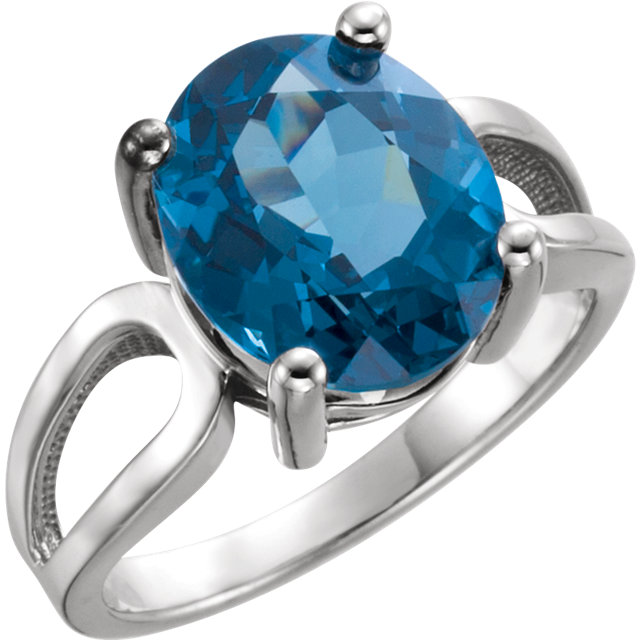14KT White Gold 12x10mm Oval London Blue Topaz Ring