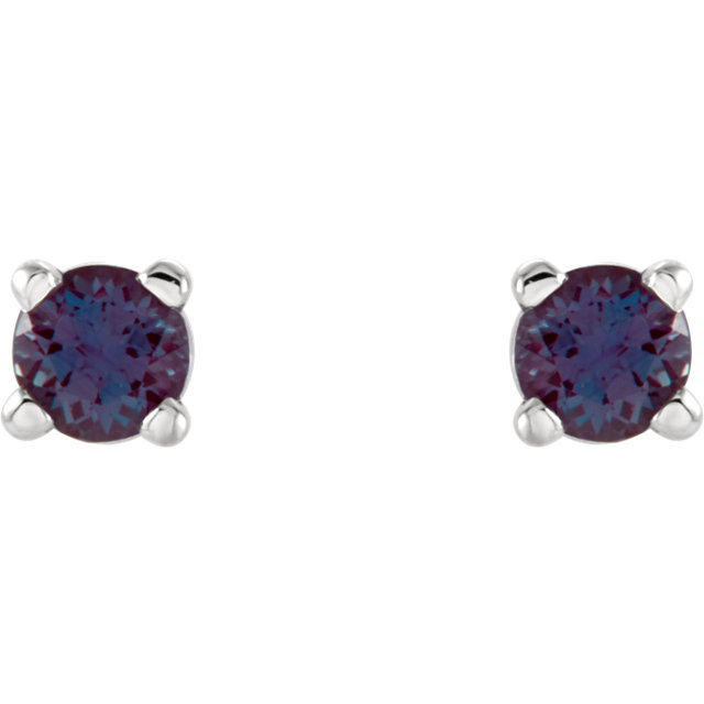 14KT White Gold 2.5mm Round Chatham Created Alexandrite Earrings