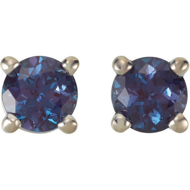 14KT White Gold 4mm Round Chatham Created Alexandrite Friction Post Stud Earrings