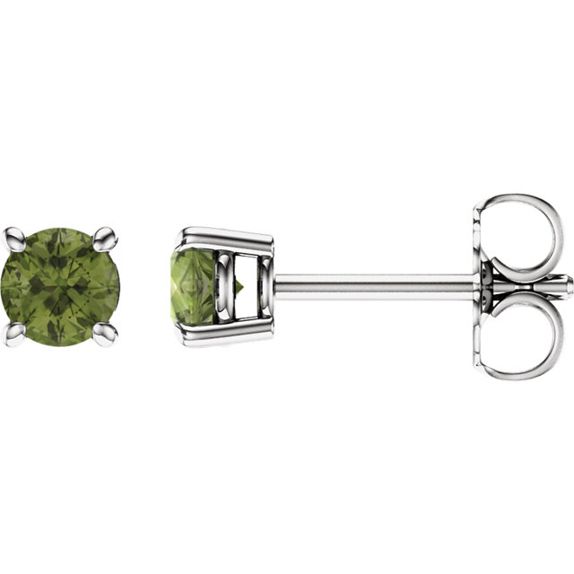 14KT White Gold 4mm Round Peridot Earrings
