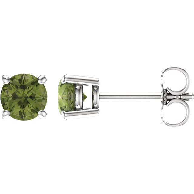 14KT White Gold 5mm Round Peridot Earrings