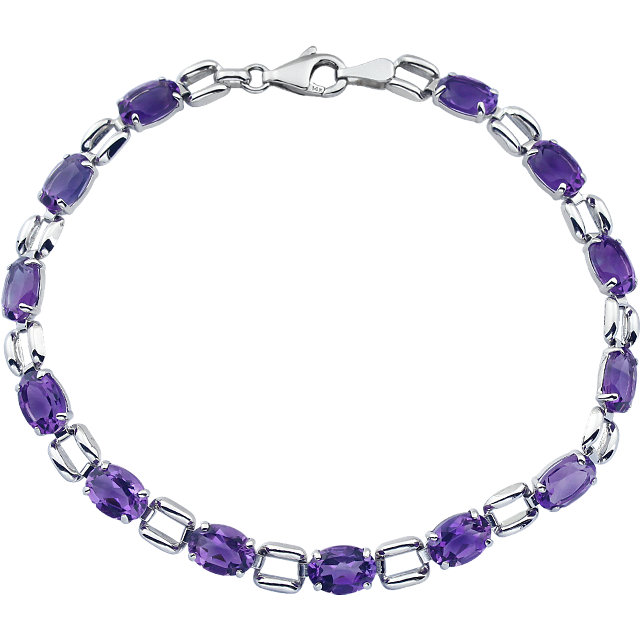 14KT White Gold 7x5mm Oval Amethyst 7