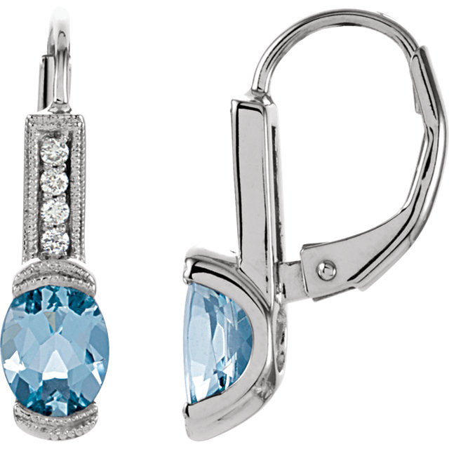 14KT White Gold Aquamarine & .08 Carat Total Weight Diamond Earrings