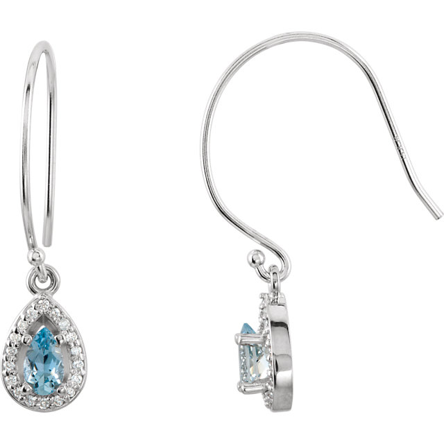 14KT White Gold Aquamarine & 1/10 Carat Total Weight Diamond Earrings