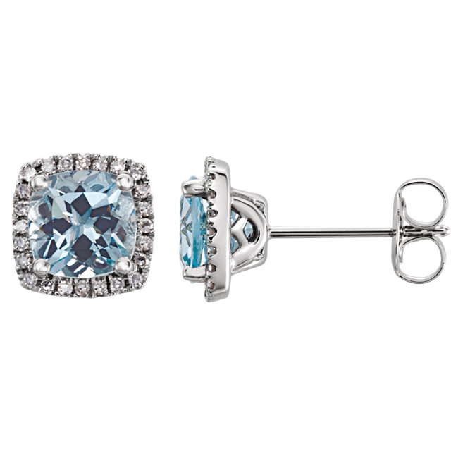 14KT White Gold Aquamarine & 1/8 Carat Total Weight Diamond Earrings
