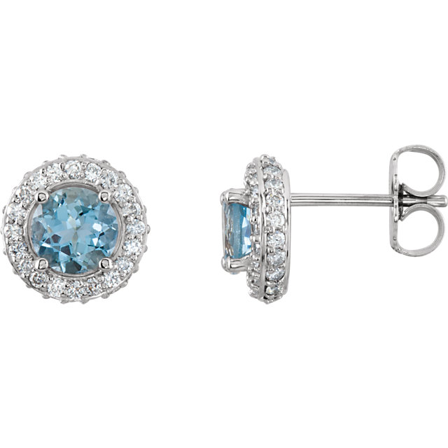 14KT White Gold Aquamarine & 3/8 Carat Total Weight Diamond Earrings