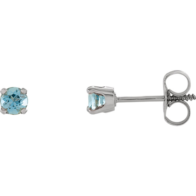 14KT White Gold Aquamarine Youth Earrings