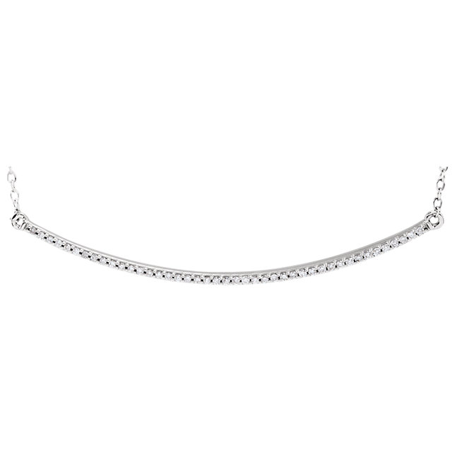 14KT White Gold Bar Necklace Center Mounting with Chain