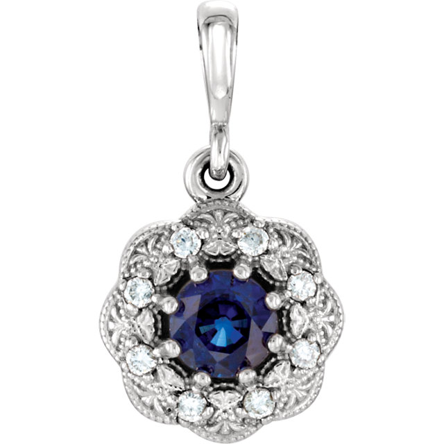 14KT White Gold Blue Sapphire & .06Carat Total Weight Dia Pendant