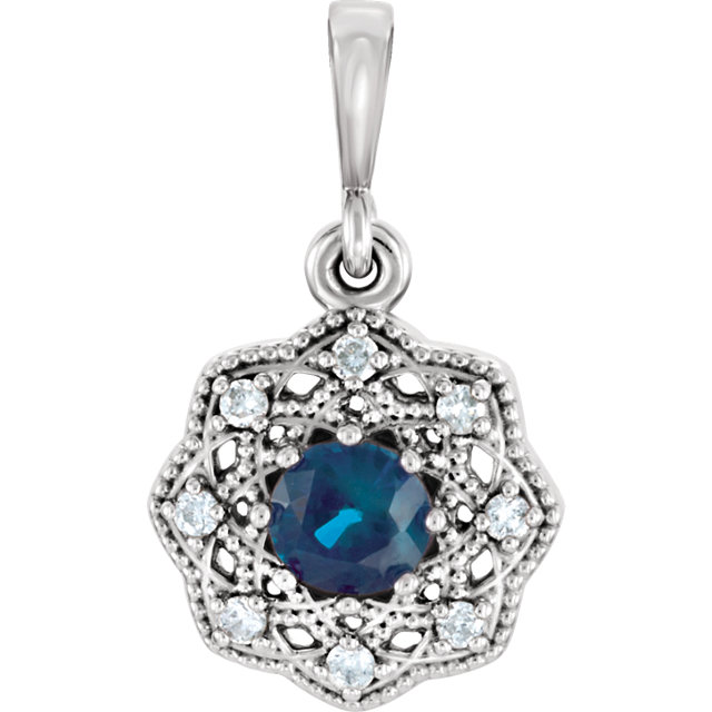14KT White Gold Blue Sapphire & .06Carat Total Weight Diamond Halo-Style Pendant
