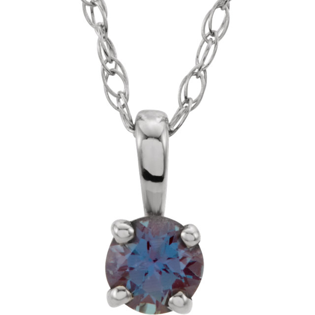 14KT White Gold Chatham Created Alexandrite