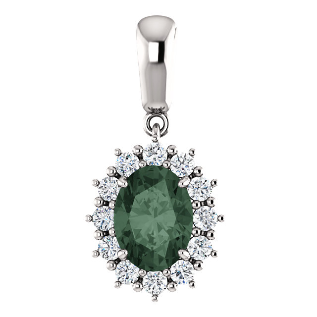 14KT White Gold Chatham Created Alexandrite & 1/3 Carat Total Weight Diamond Pendant