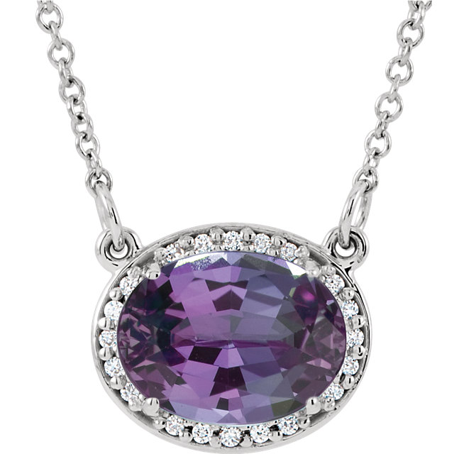 14KT White Gold Chatham Created Alexandrite &.05 Carat Total Weight Diamond 16.5