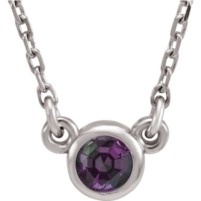 14KT White Gold Chatham Created Alexandrite 16