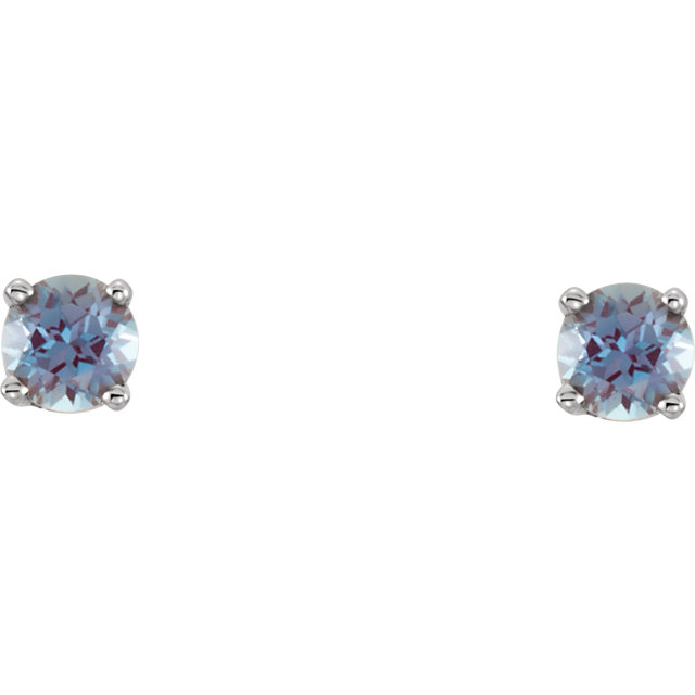 14KT White Gold Chatham Created Alexandrite Youth Earrings