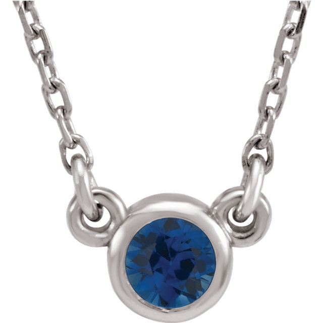 14KT White Gold Chatham Created Blue Sapphire 16