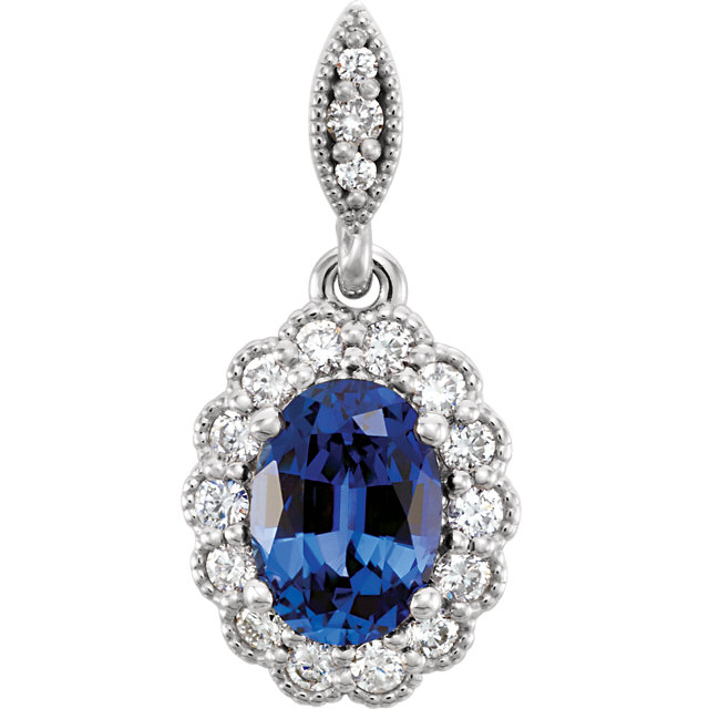 14KT White Gold Chatham Created Blue Sapphire and 1/5 Carat Total Weight Diamond Pendant
