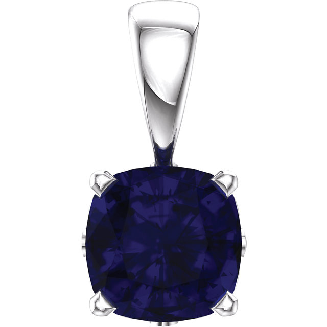 14KT White Gold Chatham Created Blue Sapphire Pendant