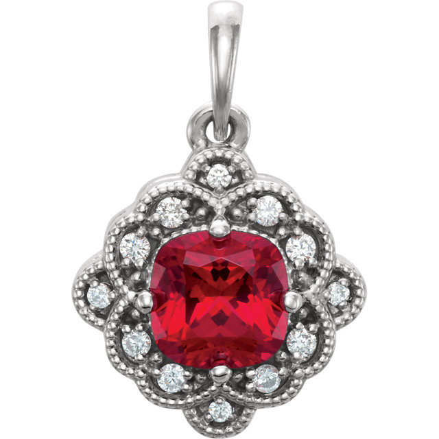 14KT White Gold Chatham Created Ruby & .03 Carat Total Weight Diamond Pendant