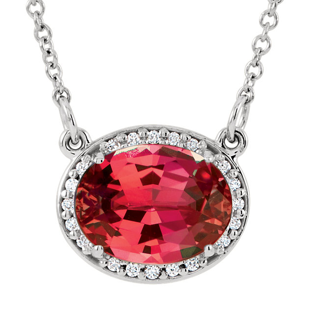 14KT White Gold Chatham Created Ruby &.05 Carat Total Weight Diamond 16.5