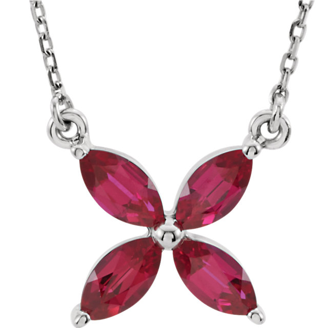 14KT White Gold Chatham Created Ruby 16