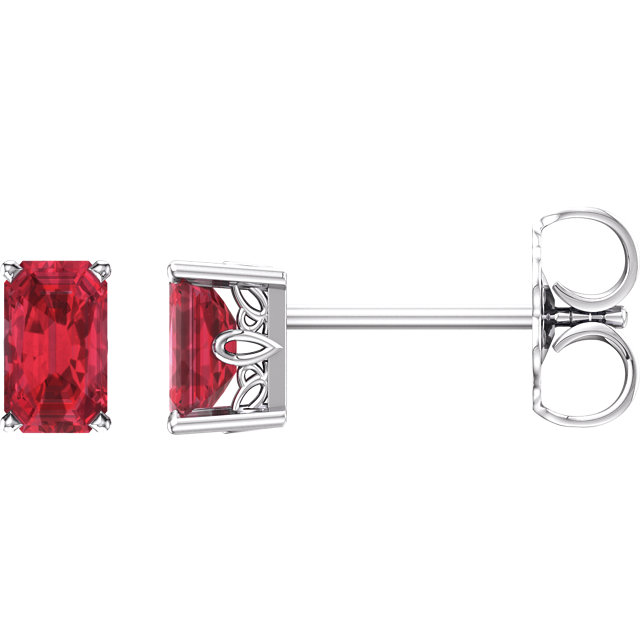 14KT White Gold Chatham Created Ruby Earrings