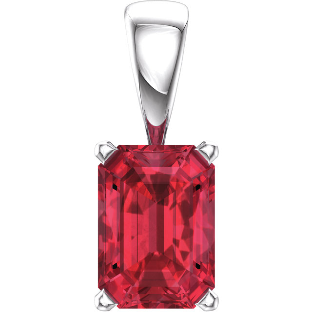 14KT White Gold Chatham Created Ruby Pendant