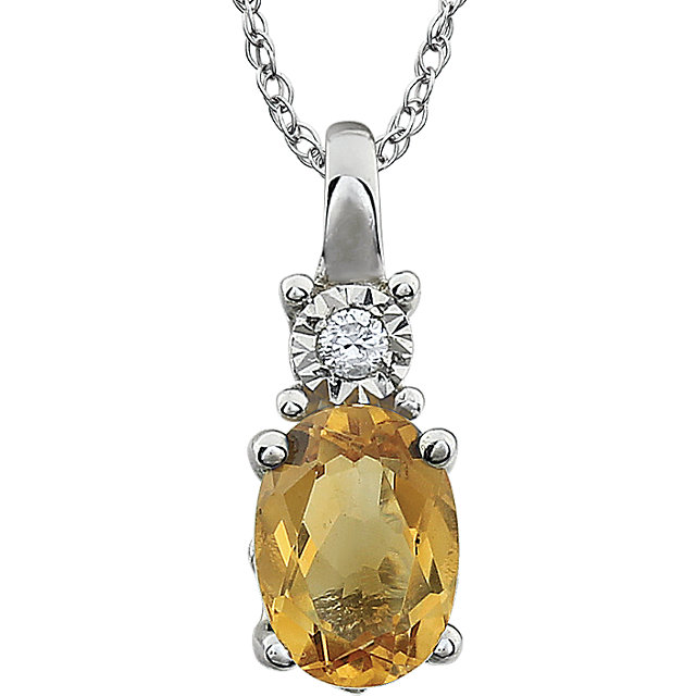 14KT White Gold Citrine & .02 Carat Total Weight 18