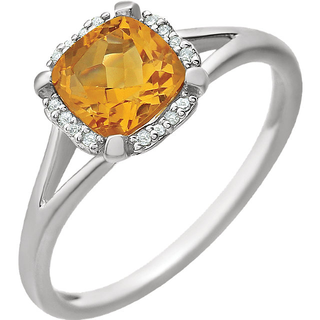 14KT White Gold Citrine & .05 Carat Total Weight Diamond Ring